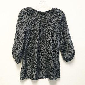 EXPRESS silk gray black boho blouse top M